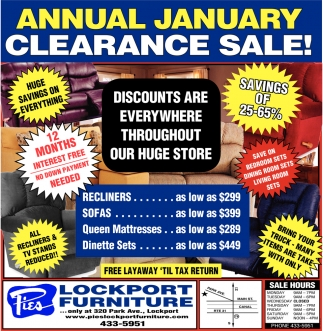 Annual January Clearance Sale Pies Lockport Furniture