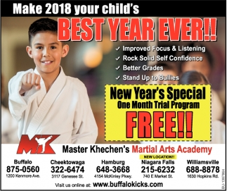 Make 2018 Your Child S Best Year Ever Master Khechen Martial Arts Academy Williamsville Ny