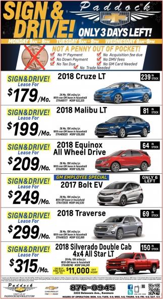 Sign And Drive!, Paddock Chevrolet, Buffalo, NY