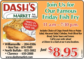 Join us for our famos friday fish fry dash 39 s market for Fish fry buffalo ny