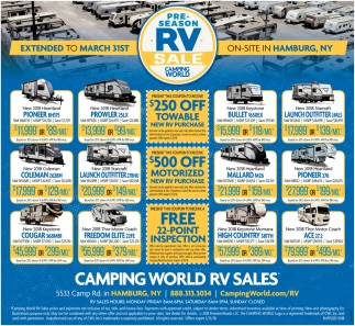 Pre Season Rv Sale Camping World Rv Sales Hamburg Ny