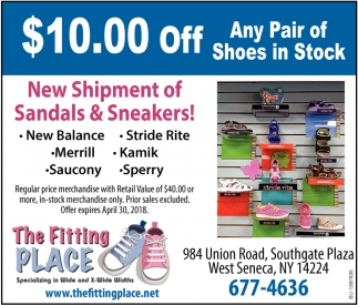 $10.00 OFF any pair of shoes in stock