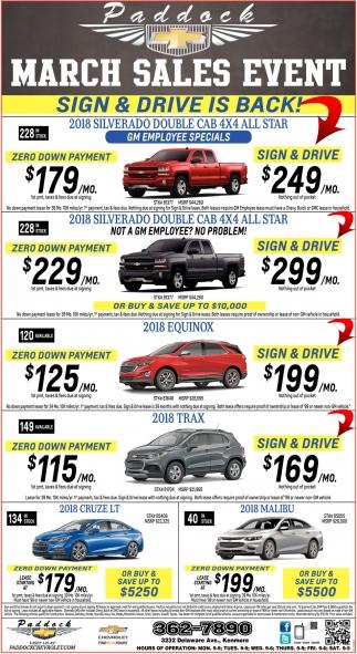 March Sales Event, Paddock Chevrolet, Buffalo, NY
