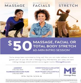 $50 Massage Or Facial