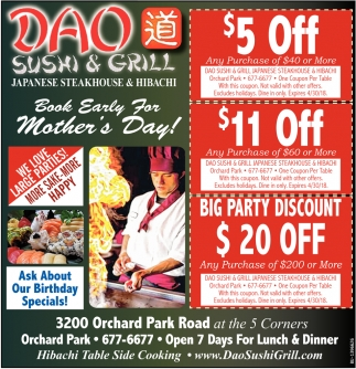Book Early for Mother's Day!