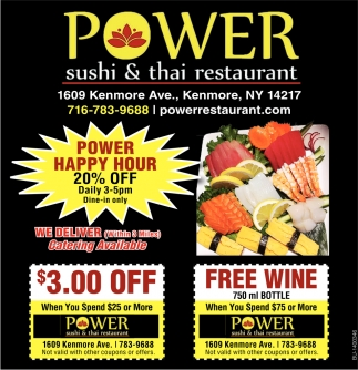 Power Happy Hour Power Sushi Thai Restaurant