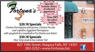 Specials Include Choice Of Selected Appetizers