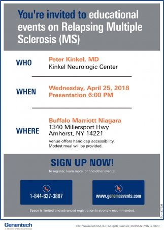 You're Invited To Educational Events On Relapsing Multiple Sclerosis (MS)