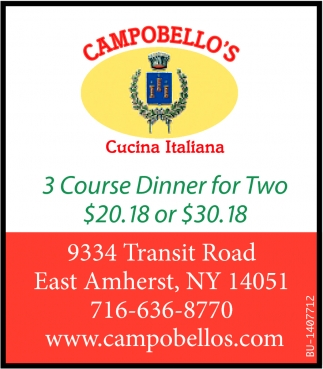 3 Course Dinner For Two $20.18 or $30.18