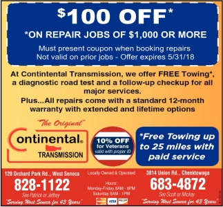 $100 Off On Repair Jobs Of $1,000 Or More