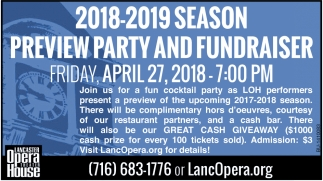 2018-2019 Season Preview Party And Fundraiser