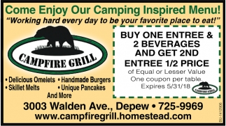 Come Enjoy our Camping Inspired Menu!