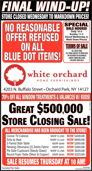 Great $500,000 Store Closing Sale!