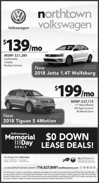0 Down Lease Deals >> 0 Down Lease Deals Northtown Volkswagen Buffalo Ny