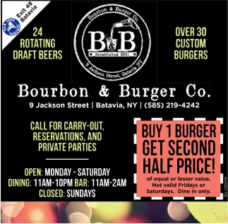 Buy 1 Burger Get Second Half Price!