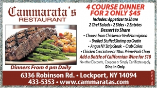 4 Courses Dinner For 2 Only $45