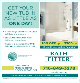 Get Your New Tub In As Little As One Day!