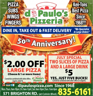 Dine In, Take Out and Fast Delivery