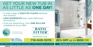 get your new tub in as little as one day!, bath fitter, cheektowaga, ny