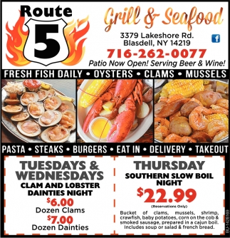 Route 5 Grill Seafood Restaurants Ads From Buffalo News