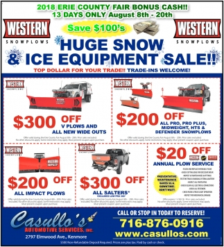 Huge Snow & Ice Equipment Sale!