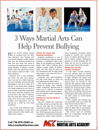 3 Ways Martial Arts Can Help Prevent Bullying
