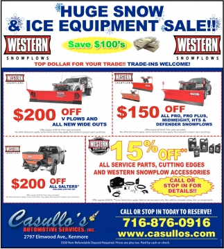 Huge Snow & Ice Equipment Sale