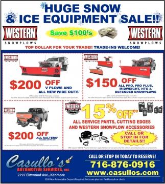 Huge Snow & Ice Equipment Sale