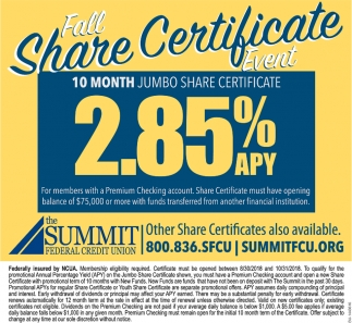 Fall Share Certificate