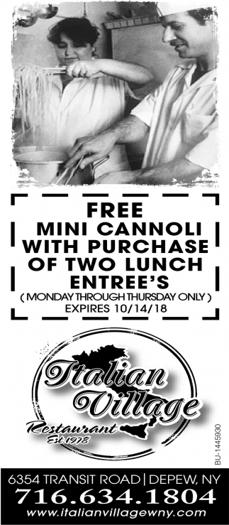 Free Mini Cannoli With Purchase