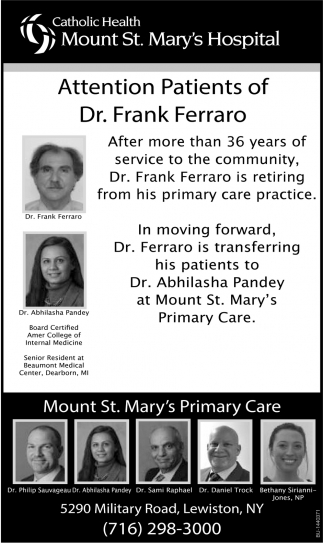 Attention Patients Of Dr. Frank Ferraro