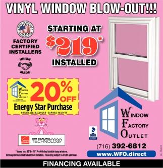 Vinyl Window Blow-Out!