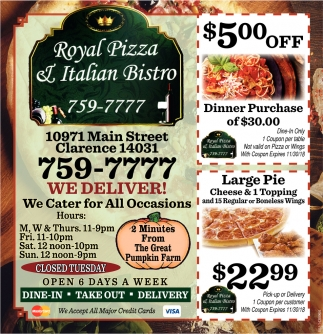 Royal Pizza Italian Bistro Restaurants Ads From Buffalo News