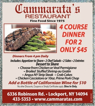 4 Course Dinner For 2 Only $45