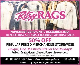 50% Off Regular Priced Merchandise