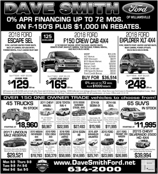 0% APR Financing Up To 60 Mos