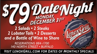 $79 Date Night Monday December 31st