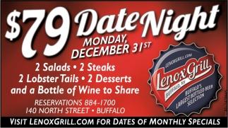 $79 Date Night Monday December 31st