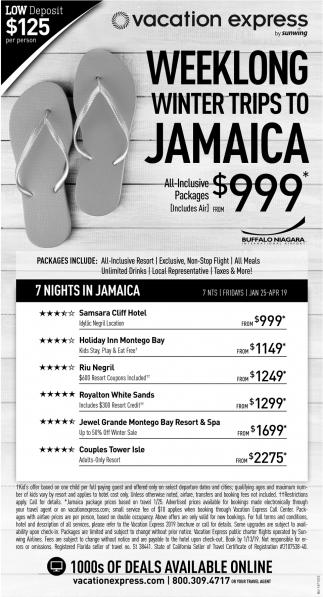 Weeklong Winter Trips TO Jamaica