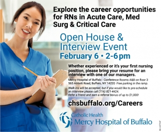 Open House & Interview Event , Catholic Health Mercy