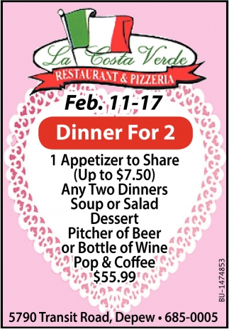 Dinner for 2, La Costa Verde Restaurant and Pizzeria, Depew, NY