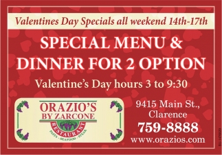 Special Menu & Dinner For 2 Option
