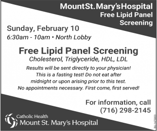 Free Lipid Panel Screening