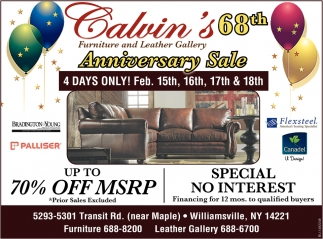 68th Anniversary Sale Calvin S Furniture Leather Gallery