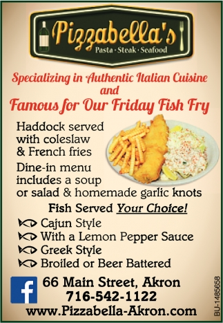 Famous For Our Friday Fish Fry