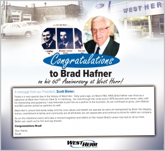 Congratulations To Brad Hafner