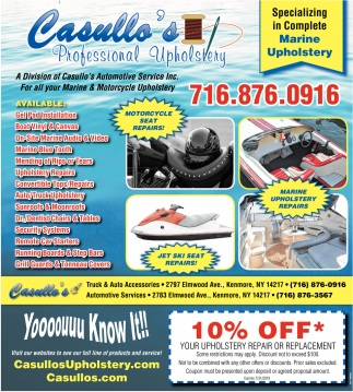 Specializing in Complete Marine Upholstery, Casullo's