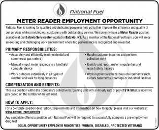 Meter Reader Employment Opportunities