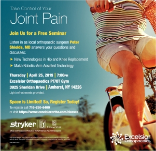 Take Control Of Your Joint Pain , Excelsior Orthopaedics, Amherst, NY