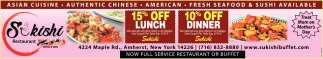 15% Off Lunch & 10% Off Dinner